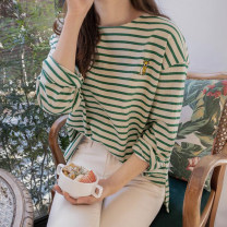 T-shirt black , green , Pink , Beige Average size Spring 2021 Long sleeves Crew neck easy Regular routine commute cotton 96% and above literature