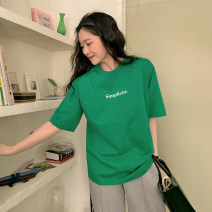 T-shirt Blue, green, ivory, passionate pink, ivory + pink Average size Summer 2021 Short sleeve Crew neck easy Regular routine commute cotton 96% and above Simplicity