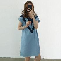 Dress Summer 2020 Light cyan, dark cyan Single size Short skirt singleton  Short sleeve commute Crew neck Loose waist Socket 25-29 years old Korean version More than 95% cotton