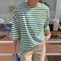 T-shirt Dark blue, green, black, pink Average size Summer 2021 elbow sleeve Crew neck easy Regular routine commute cotton 96% and above Korean version