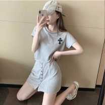 Women's large Summer 2020 Grey Top + grey skirt S M L XL Crew neck DrHEkE Ogucco 18-24 years old Short skirt Polyester 80.00% others 20.00%