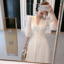 Women's large Summer 2020 white L XL S M singleton  commute elbow sleeve Solid color Retro V-neck polyester fiber routine 123fsd Ogucco 18-24 years old 71% (inclusive) - 80% (inclusive) longuette Polyester 80.00% others 20.00% Pure e-commerce (online only)