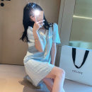 Women's large Autumn 2020 Blue dress apricot dress S M L XL Dress singleton  commute moderate Socket Short sleeve Solid color Retro V-neck polyester fiber routine LJMC6N2738 Luo Jingmei 18-24 years old Button Short skirt New polyester 70% other 30% Pure e-commerce (online only)