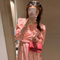 Women's large Spring 2021 Pink dress S M L XL Dress singleton  commute easy Long sleeves other Retro other Medium length routine YD2N4161 Luo Jingmei 18-24 years old Medium length New polyester 70% other 30% Pure e-commerce (online only) other