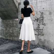 skirt Autumn 2020 XS,S,M,L,XL,2XL White, black Short skirt commute High waist A-line skirt Solid color Type A 18-24 years old A500 81% (inclusive) - 90% (inclusive) knitting polyester fiber Retro