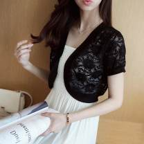 Wool knitwear Spring 2017 XL M S L White big flower white big flower black black Short sleeve singleton  Cardigan other More than 95% Super short Thin money Sweet Self cultivation V-neck routine Solid color 18-24 years old Jinggang classic Lace Other 100% Ruili