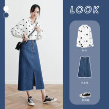 skirt Autumn of 2019 XS S M L XL 2XL blue Mid length dress commute High waist Denim skirt Solid color Type A 25-29 years old More than 95% polyester fiber Korean version Polyester 100% Pure e-commerce (online only)