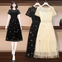 Dress Spring 2021 Apricot black M L XL 2XL 3XL 4XL Mid length dress singleton  Short sleeve commute Crew neck Solid color other 25-29 years old Food style Korean version Lace More than 95% other Other 100% Pure e-commerce (online only)