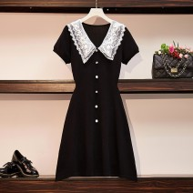 Dress Summer 2020 black L XL 2XL 3XL 4XL Mid length dress singleton  Short sleeve commute V-neck High waist Solid color Socket Big swing routine Others 25-29 years old Type A Food style Korean version Gauze More than 95% other other Other 100% Pure e-commerce (online only)