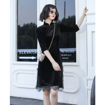 cheongsam Autumn 2020 S M L XL XXL XXXL Black silk three quarter sleeve Short cheongsam Retro No slits daily Round lapel Solid color 18-25 years old Piping YQK0268 Yu Qingke other Other 100% Pure e-commerce (online only)