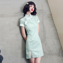 cheongsam Summer 2021 S M L XL XXL Magnolia Short sleeve Short cheongsam Retro Low slit daily Oblique lapel Broken flowers 18-25 years old Piping YQK0417 Yu Qingke other Other 100% Pure e-commerce (online only)