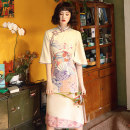 cheongsam Winter of 2019 S M L XL XXL Fan dance three quarter sleeve long cheongsam Retro High slit daily Oblique lapel Decor 18-25 years old Piping YQK0082 Yu Qingke other Other 100% Pure e-commerce (online only)