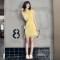cheongsam Spring 2021 S M L XL XXL Bright yellow Short sleeve Short cheongsam Retro Low slit daily Round lapel Solid color 18-25 years old Piping YQK0403 Yu Qingke other Other 100% Pure e-commerce (online only)