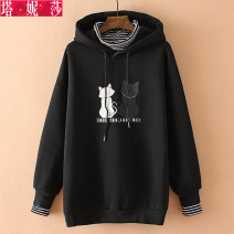Women's large Winter of 2018 Grey black Big XL big 2XL big 3XL Sweater / sweater Fake two pieces commute easy thick Socket Long sleeves Cartoon animation Korean version Hood Medium length Three dimensional cutting raglan sleeve xyz8094 Tanissa 25-29 years old Cotton 89% polyester 11%