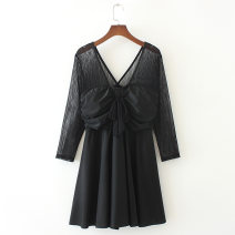 Women's large Spring 2021 black Big 3XL big 4XL big 5XL big 6xl big 7XL Other oversize styles singleton  commute Self cultivation moderate Conjoined Long sleeves Solid color Korean version V-neck Three dimensional cutting routine san2215 Tanissa 25-29 years old Middle-skirt