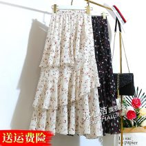 skirt Summer 2021 Average size Off white black Mid length dress Versatile High waist Irregular Broken flowers Type A 18-24 years old 1580-3 More than 95% Chiffon Bing Xinjie polyester fiber Asymmetric stitching printing with ruffles Polyester 100% Pure e-commerce (online only)