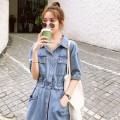 Dress Summer 2021 Denim S M L XL Mid length dress singleton  Short sleeve commute Polo collar Elastic waist Solid color Single breasted A-line skirt routine Others 25-29 years old Type A Yunweiyi Korean version pocket 097-2060 More than 95% Denim polyester fiber 100.00% polyester