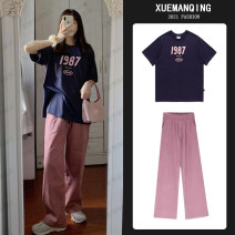 Women's large Summer 2021 Single short sleeve T-shirt single wide leg pants short sleeve T-shirt + wide leg pants two piece set Other oversize styles Two piece set commute easy thin Socket Short sleeve Shape solid color Korean version Crew neck routine cotton Three dimensional cutting other trousers