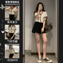 Women's large Summer 2021 Other oversize styles Two piece set commute Straight cylinder thin Cardigan Short sleeve Solid color Korean version V-neck have cash less than that is registered in the accounts polyester fiber Three dimensional cutting routine 7002# Sherman love 25-29 years old Button other