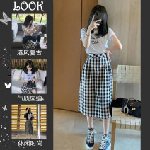 Women's large Summer 2021 White short sleeve T-shirt + black and white plaid skirt two piece set Other oversize styles Two piece set commute easy thin Socket Short sleeve Solid letters Korean version Crew neck routine Three dimensional cutting routine Sherman love 25-29 years old Medium length