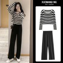 Women's large Spring 2021 Striped Top + Black Wide Leg Pants two piece single striped top single Black Wide Leg Pants Other oversize styles Two piece set commute easy Socket Long sleeves stripe Korean version Crew neck routine Three dimensional cutting routine Sherman love 25-29 years old pocket