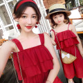 Parent child fashion oxblood red Women's dress female summer lady Thin money Solid color trousers Cotton blended fabric L M S 12 months 18 months 2 years old 3 years old 4 years old 5 years old 6 years old 7 years old 8 years old 9 years old 10 years old 11 years old 12 years old Chinese Mainland