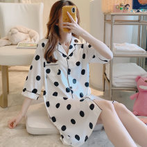 Nightdress Other / other M,L,XL,XXL,XXXL Sweet Short sleeve pajamas Middle-skirt spring Dot youth Small lapel printing More than 95% A1908