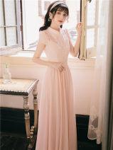 Dress Summer 2021 Pink S,M,L,XL longuette Short sleeve commute stand collar High waist Solid color zipper Big swing Type A Retro Embroidery Chiffon