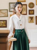Fashion suit Autumn 2021 S,M,L,XL White top + dark green skirt