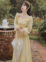 Dress Spring 2021 canary yellow S,M,L longuette singleton  Long sleeves commute square neck High waist Solid color zipper Ruffle Skirt lady