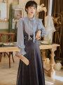 Fashion suit Spring 2021 S,M,L,XL Shirt + vest skirt suit, dark blue vest skirt, single shirt