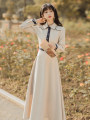 Dress Spring 2021 Picture color S,M,L,XL longuette singleton  Long sleeves commute Polo collar High waist A-line skirt shirt sleeve Type A Retro Button, button