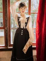 Fashion suit Autumn 2021 S,M,L,XL White top + black strap skirt