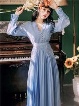 Dress Autumn 2021 sky blue S,M,L longuette singleton  commute V-neck Solid color Pleated skirt