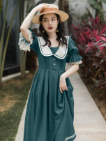Dress Summer 2021 blackish green S,M,L Mid length dress singleton  Short sleeve commute Admiral High waist Solid color A-line skirt Type A Retro Pleats, stitches, lace