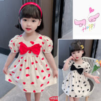 Dress Black, red female Other / other 120cm,100cm,130cm,110cm,90cm Other 100% summer princess Short sleeve other Cotton blended fabric Splicing style 18 months, 2 years old, 3 years old, 4 years old, 5 years old, 6 years old