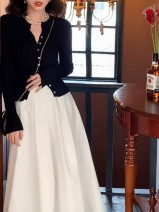 skirt Summer 2020 XS,S,M,L White [skirt], khaki [skirt], black [cardigan top], green [flared sleeve sweater], black [flared sleeve sweater] Mid length dress Retro High waist Umbrella skirt Solid color Type A 18-24 years old 51% (inclusive) - 70% (inclusive) other other