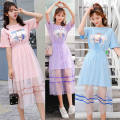 Dress Summer 2021 S M L XL 2XL Mid length dress Two piece set Short sleeve commute Crew neck High waist Cartoon animation Socket Princess Dress routine Others 18-24 years old Type A You Yifang Korean version More than 95% polyester fiber Other polyester 95% 5% Pure e-commerce (online only)
