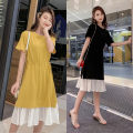 Dress Summer 2021 Yellow black S M L XL 2XL Mid length dress singleton  Short sleeve commute Crew neck High waist Solid color Socket Ruffle Skirt routine 18-24 years old Type A You Yifang Korean version Lace stitching Drawstring More than 95% polyester fiber Other polyester 95% 5%