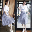 Dress Summer 2021 White T-shirt + skirt S M L XL 2XL Mid length dress Two piece set Short sleeve commute Crew neck High waist letter Socket Princess Dress routine 18-24 years old Type A You Yifang Korean version printing More than 95% polyester fiber Other polyester 95% 5%