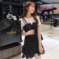 Dress Summer 2021 White short sleeve + black skirt S M L XL 2XL Mid length dress Two piece set Short sleeve commute Crew neck High waist Dot Socket Ruffle Skirt routine camisole 18-24 years old Type A You Yifang Korean version Splicing Z704 More than 95% polyester fiber Other polyester 95% 5%