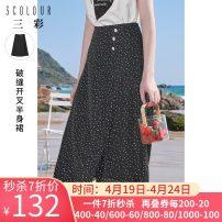 skirt Summer 2021 160/68A/M,165/72A/L,170/76A/XL,155/64A/S,175/80A/2XL black Mid length dress High waist A-line skirt Dot Type A 25-29 years old D362G1002Q40 More than 95% Tricolor polyester fiber
