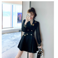 Dress Autumn 2020 black S M L XL 2XL Short skirt singleton  Long sleeves commute tailored collar High waist Solid color Socket A-line skirt puff sleeve Others 25-29 years old Type A Korean version More than 95% other Other 100% Pure e-commerce (online only)