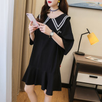 Dress Orange white black M L XL XXL Korean version Short sleeve Medium length summer Lapel Solid color cotton
