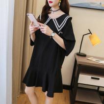 Dress Orange white black M L XL XXL Korean version Short sleeve Medium length summer Lapel Solid color cotton