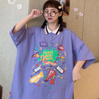 Women's large Summer 2020 Purple black white T-shirt singleton  commute easy moderate Socket Short sleeve Korean version Polo collar Medium length cotton printing and dyeing routine Daioli 18-24 years old Three dimensional decoration 96% and above Exclusive payment of tmall