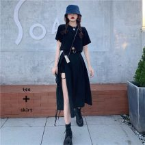 Women's large Summer 2021 Top + skirt S M L XL Dress Two piece set commute easy Socket Short sleeve Solid color Korean version Crew neck routine polyester fiber Three dimensional cutting routine Gu Jiafu longuette Cotton 100% Pure e-commerce (online only)
