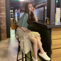 Dress Summer 2020 Blue T-shirt + blue floral skirt white T-shirt + Red Floral Skirt S M L XL Mid length dress Two piece set Short sleeve commute Crew neck High waist Decor Socket A-line skirt routine Others 18-24 years old Gu Jiafu Korean version HYJ22683388 More than 95% other Other 100%