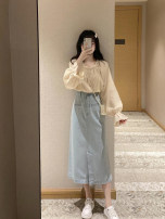Women's large Autumn 2020 Top + skirt S M L XL Dress Two piece set commute Long sleeves Korean version routine M202186 Gu Jiafu 96% and above Medium length Polyester 100% Pure e-commerce (online only)