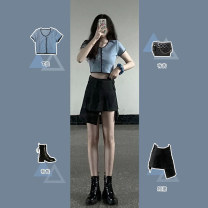 Women's large Summer 2020 Top + skirt XS S M L XL Dress Two piece set commute Short sleeve Retro V-neck have cash less than that is registered in the accounts routine BK552* Gu Jiafu Short skirt Other 100% Pure e-commerce (online only)